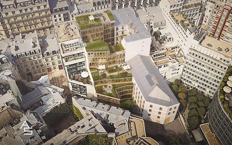 Le projet du mois - Maison Bayard, Paris 8 - Restructuration de l'ancien siège historique de RTL et construction d'un bâtiment neuf en structure bois