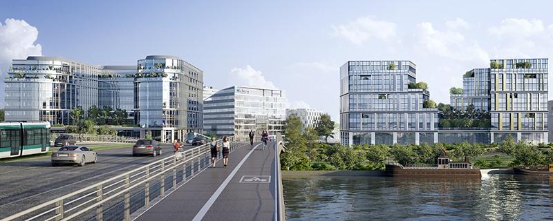 Le projet du mois - La Nouvelle Seine, ensemble tertiaire, au coeur du nouveau pôle d'affaires du Port de Bezons - Com'Unity et U'Man, ensemble immobilier audacieux surplombant la Seine face à La Défense